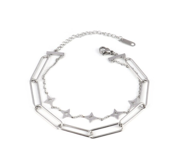 Armband double chain/stars | zilver
