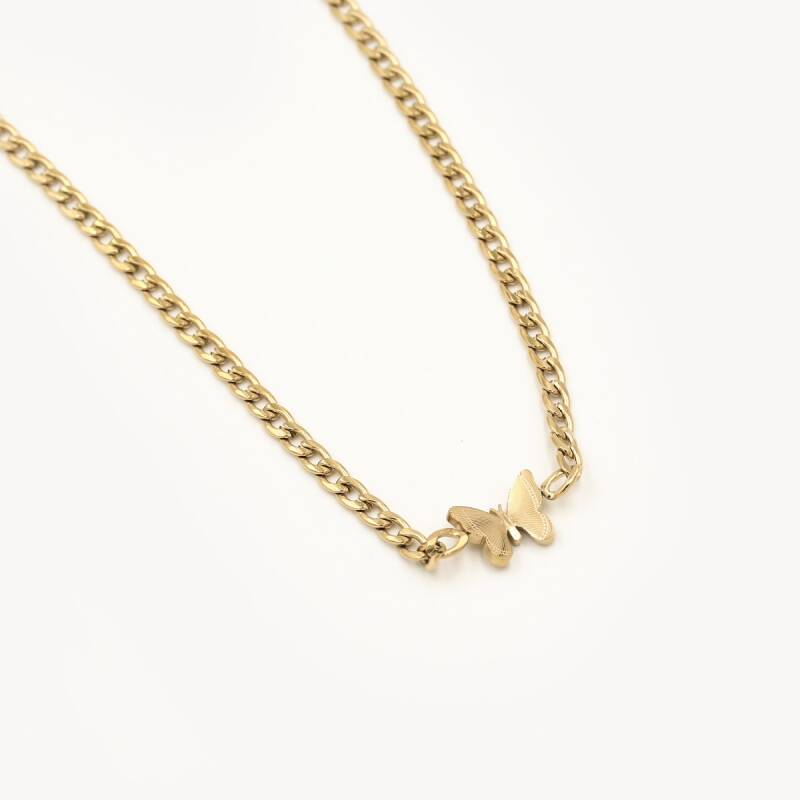 Chain necklace butterfly   goud