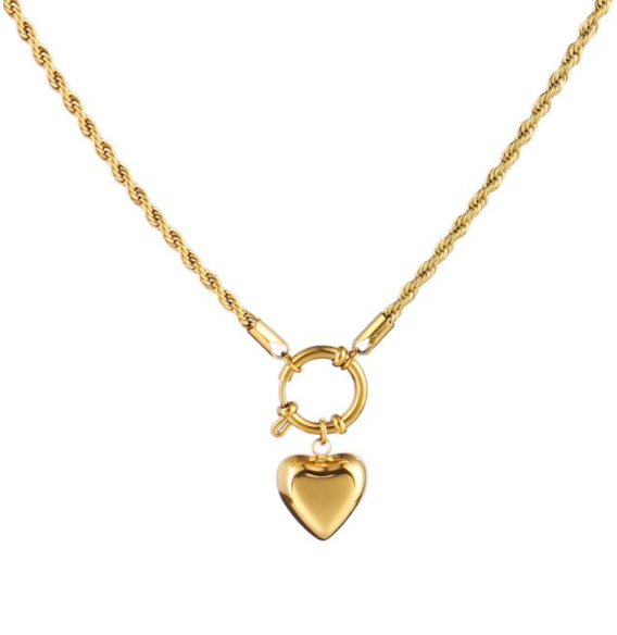 Twisted round heart necklace | goud