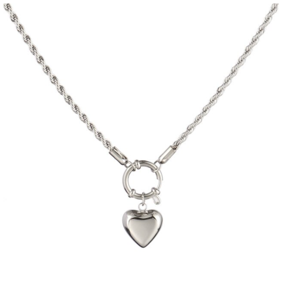 Twisted round heart necklace | zilver