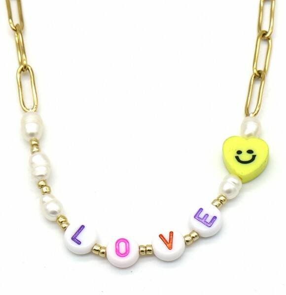 Chain necklace love | goud