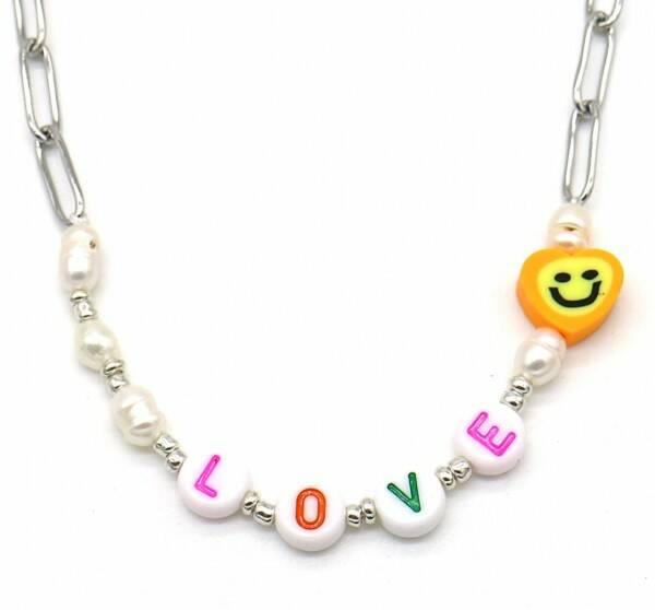 Chain necklace love | zilver