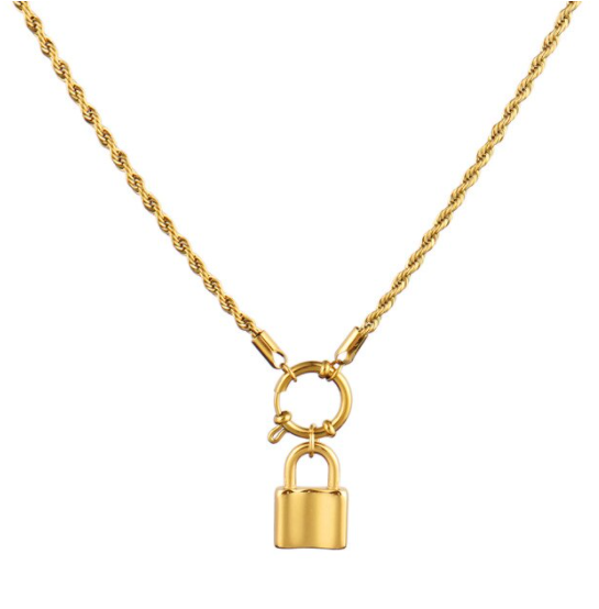 Twisted round lock necklace | goud