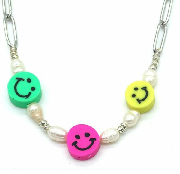 Chain necklace smiley pearls   zilver
