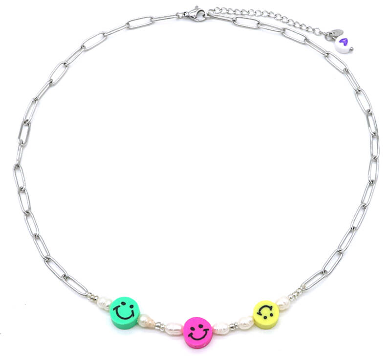 Chain necklace smiley pearls | zilver