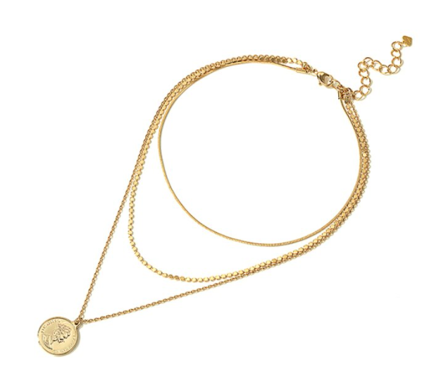 Layered necklace munt | goud