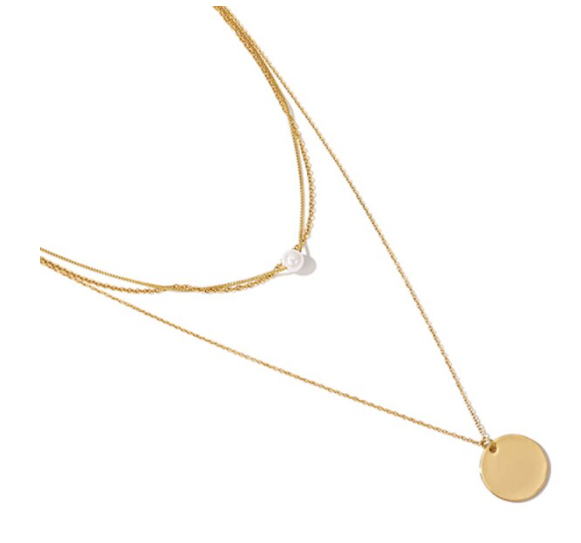 Layered necklace coin pearl | goud