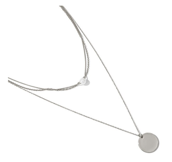 Layered necklace coin pearl | zilver