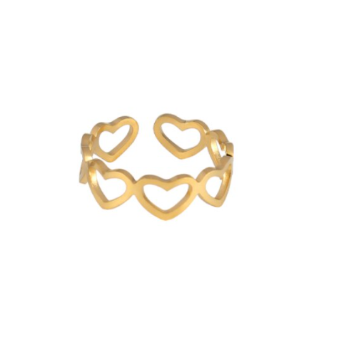 Ring lined hearts   goud