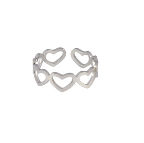 Ring lined hearts | zilver