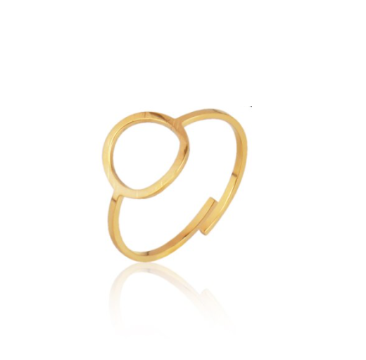 Ring lined round   goud
