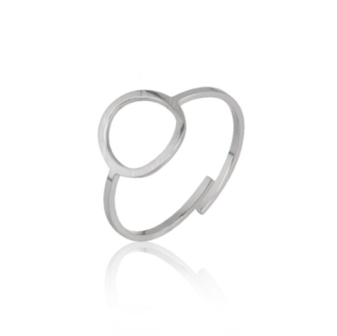 Ring lined round | zilver