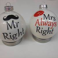 Kerstbal set MR Right en MRS Always right