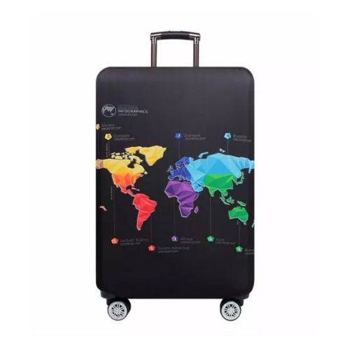 Suitcase Cover with a World Map in Multi Color