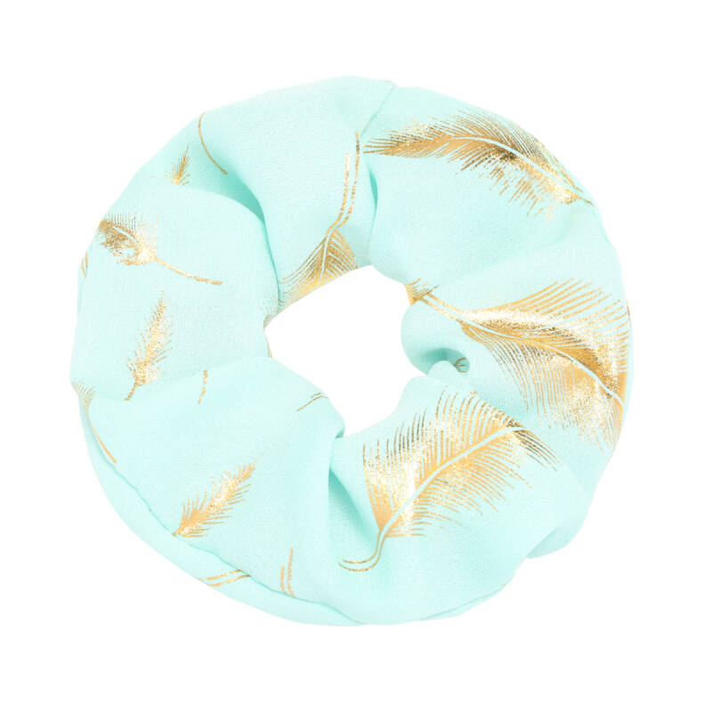 Scrunchie golden feather turquoise