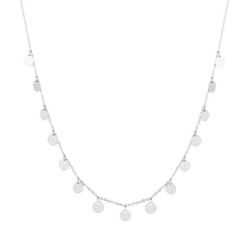 Floating Coins Necklace Silver