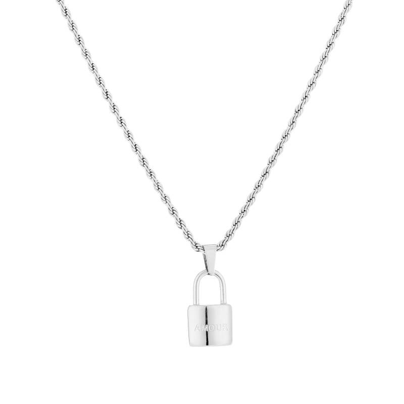 Amour Lock Necklace Silver