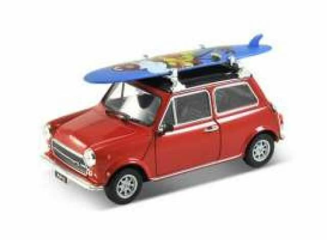 Mini Cooper 1300 with surfboard, red with black roof