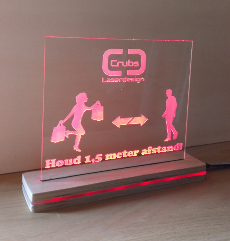 1,5 meter afstand bord (LED)