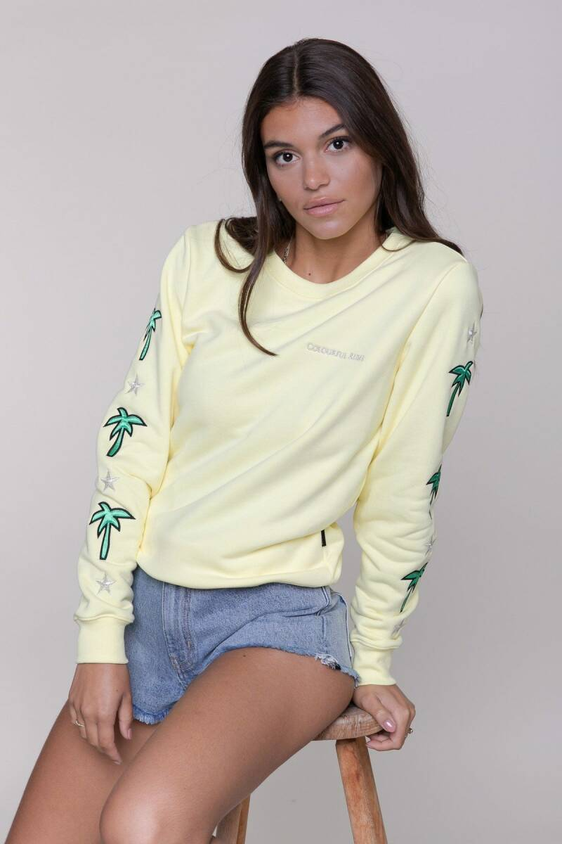 Colourful Rebel  Palm Patched Basic Sweater Yellow
