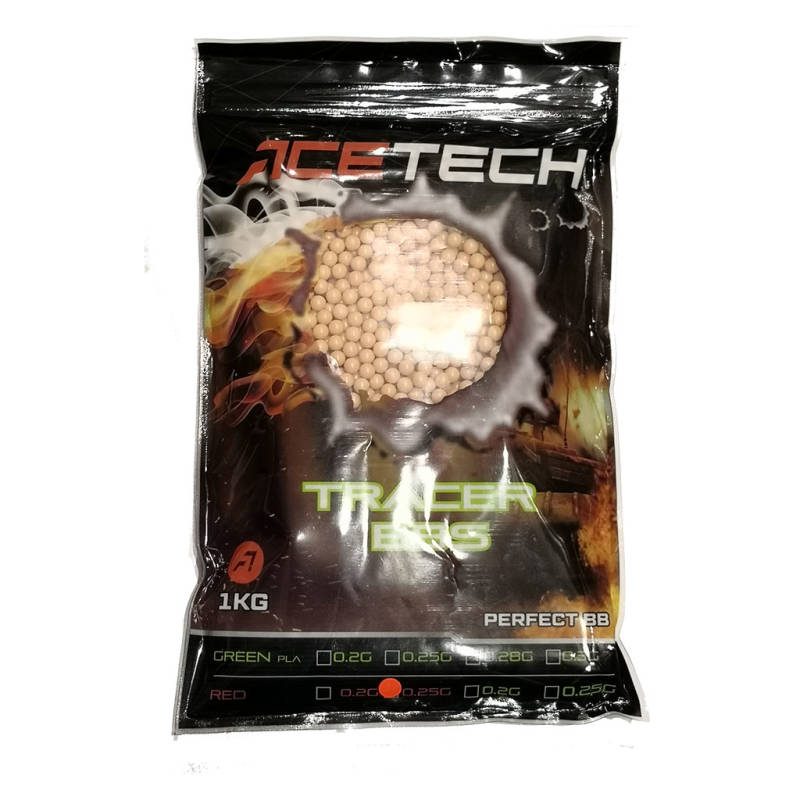 Acetech RED tracer 0.25g BBs 1Kg bag