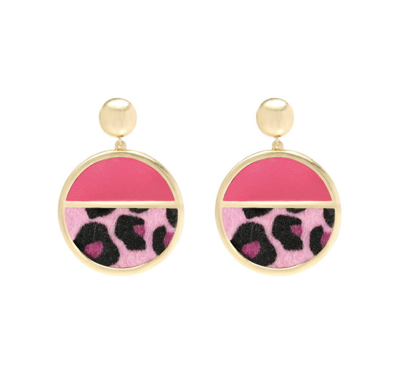 Earrings Ladybug Leopard Pink