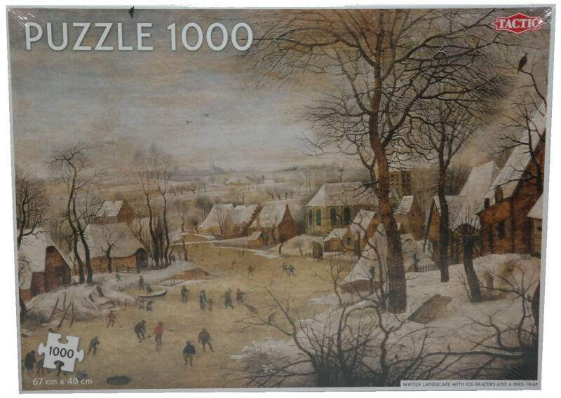 Puzzle 1000x - Winter landscape with ice-skaters and a bird trap