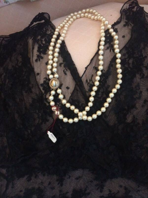 1960s 2 String Pearls with a Gold Tone Clasp