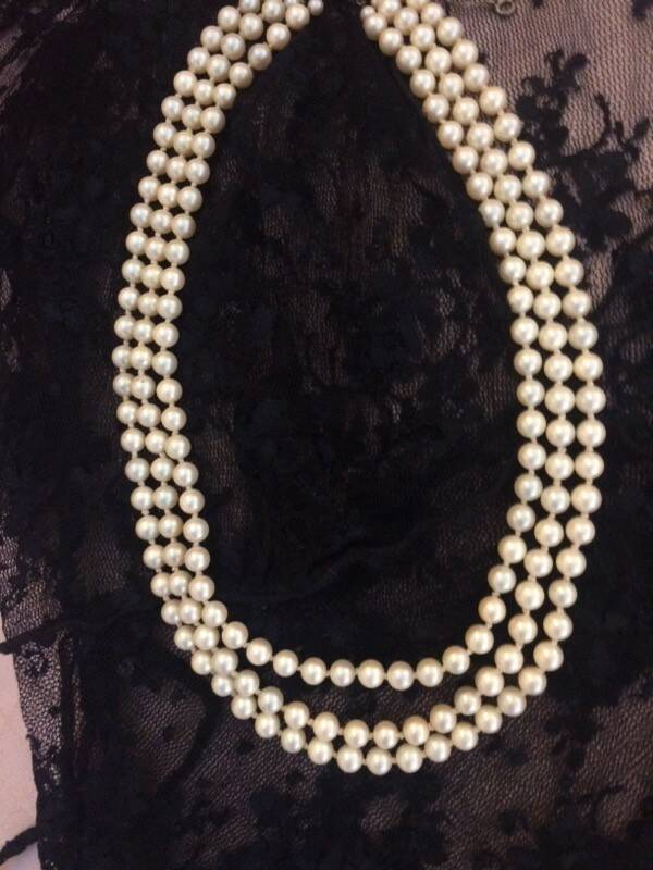 3 String Pearls with Silver Clasp