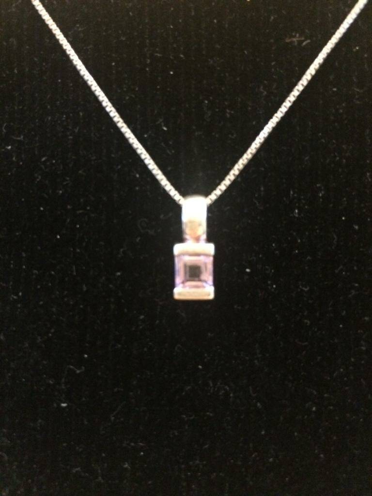 Delicate Silver and Amethyst pendant & chain