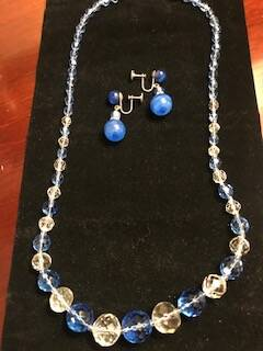 Single String Blue and Clear Crystal Beads and Earrings
