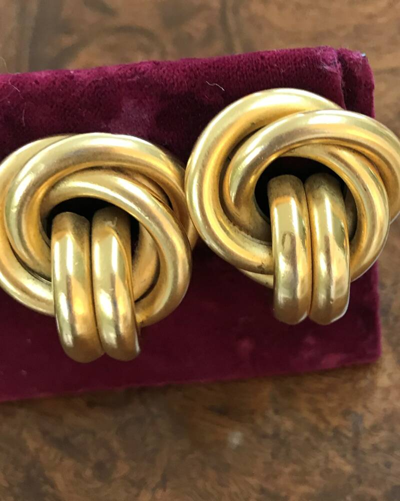 Gold Tone Large Knot Earrings