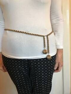 Double Link Gold Tone Belt with Brass Baubles