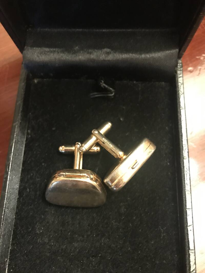 Austrian 1950s Hinged Gold Toned Cuff Links