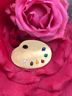 Gold Tone 1960s Artists Palette Brooch