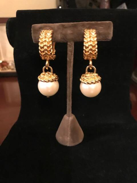 1980s Gilt Rope Design Earrings with Large Pearl Drops