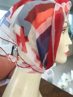 Vintage White, Red and Blue Silk Scarf