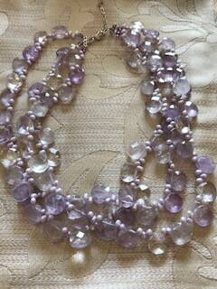 Very Pretty 3 String Amethyst Coloured Necklace