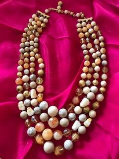50s 4 String Crystal, Glass & Amber coloured Beads