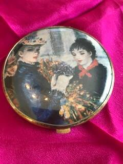 Fabulous 40s Painted Brass Compact