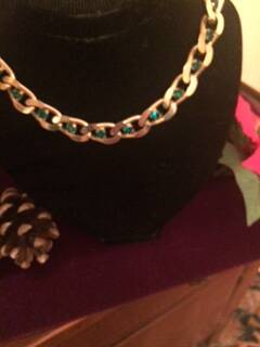 1960s Large Link Gilt and Green Stone Choker