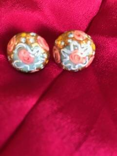 50's Painted Glass Earrings