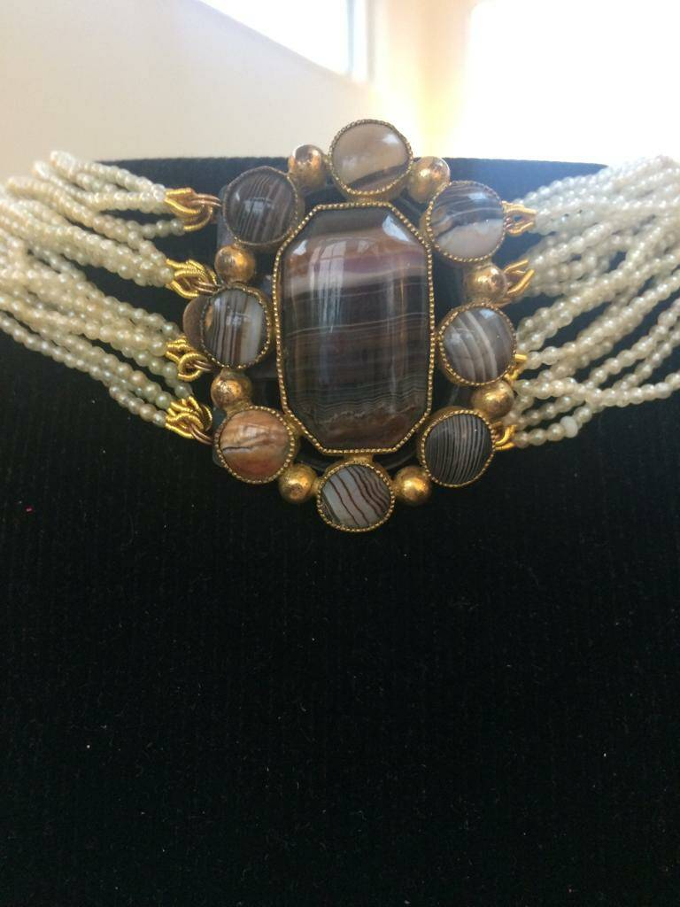Fabulous Pearl Choker with Victorian Agate Clasp