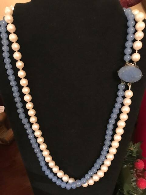 1960s Pearl & Blue Stone 2 String Necklace