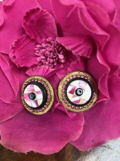 1950s Gilt, Mother of Pear & Diamante Pink Earrings
