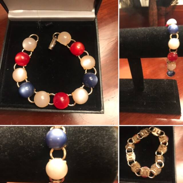 1960s Mother of Pearl Red, White & Blue Bracelet