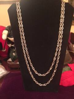 1950s Silver Coloured Double Link Muff Chain