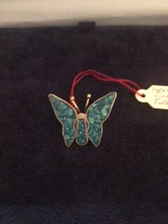 Mexican Silver Small Blue Butterfly Brooch