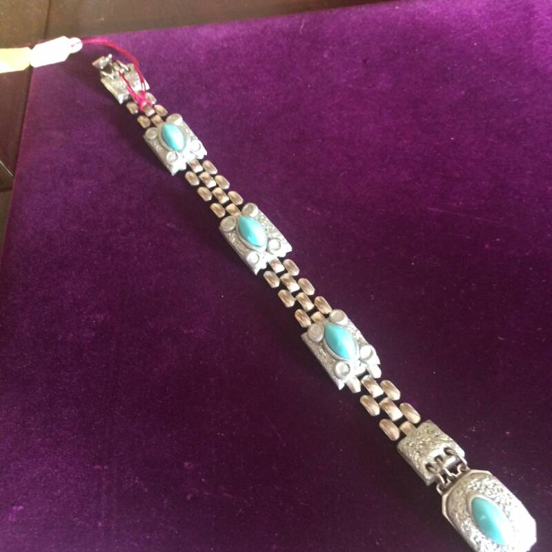 1950s Silver Coloured Bracelet with Turquoise Design