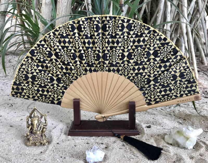 Black Sri Yantra Sacred Geometry Silk Handfan For Wealth, Prosperity & Divine Union